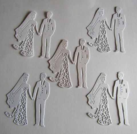 5 X BEAUTIFUL WEDDING BRIDE AND GROOM DIE CUTS IN WHITE